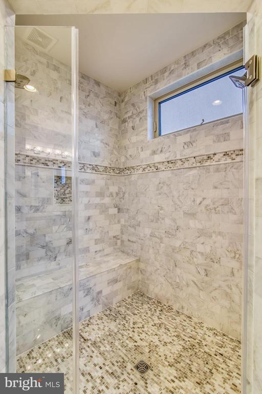 CUSTOM CARRERA MARBLE IN DOUBLE SHOWER WITH SEAT - 20800 EXCHANGE ST, ASHBURN