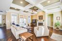 Great room with coffered ceiling & loads of light - 208 LIMESTONE LN, LOCUST GROVE