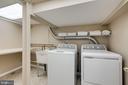 Finished laundry room with storage shelves - 604 N LATHAM ST, ALEXANDRIA