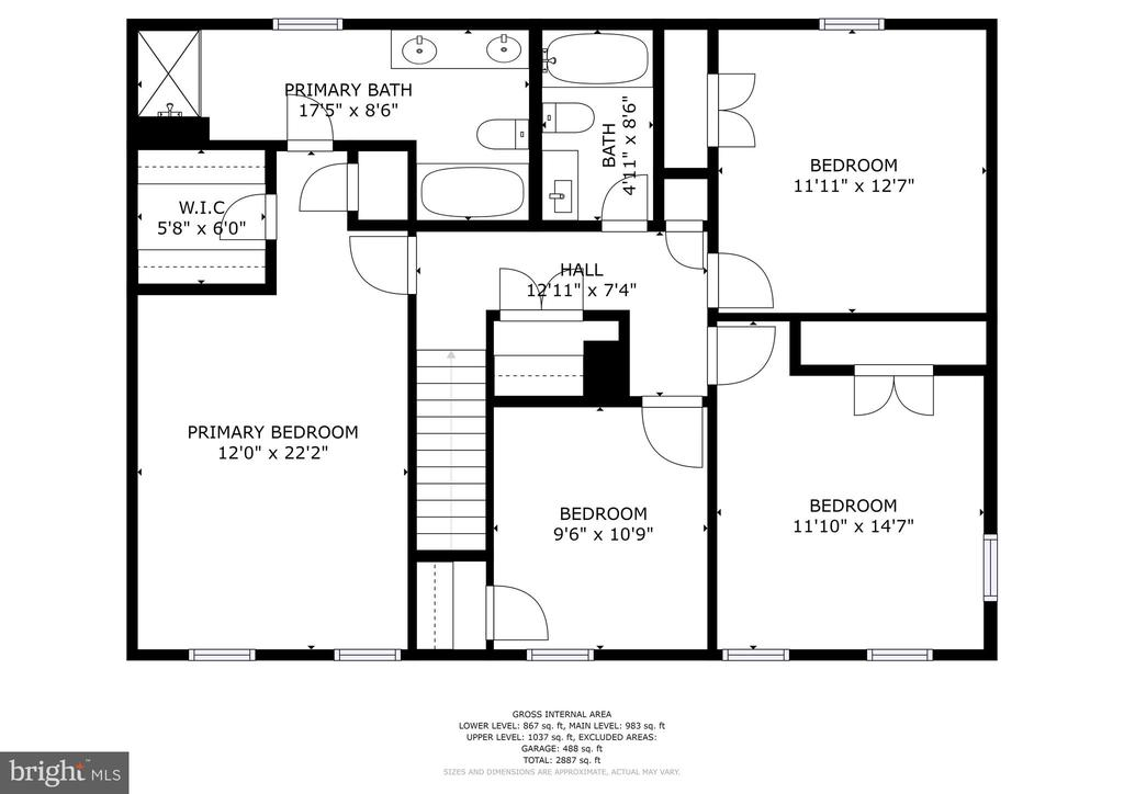 Upper level floor plan - 1510 MEADOW CHASE DR, HERNDON