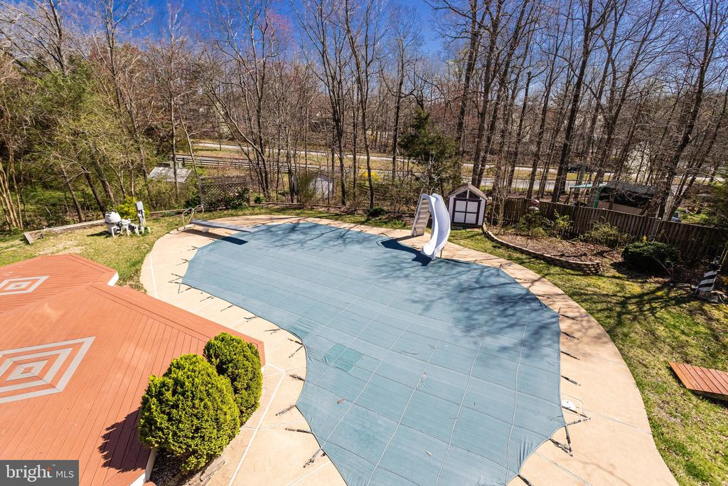 View from Upper Level of Large Backyard & Pool - 9107 ROOKINGS CT, SPRINGFIELD