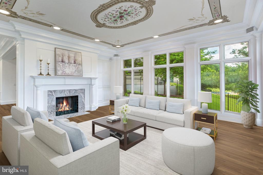 Marble Fireplace - 8313 PERSIMMON TREE RD, BETHESDA