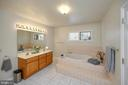 Master Bathroom with double sinks & soaking tub - 1106 LAKEVIEW PKWY, LOCUST GROVE