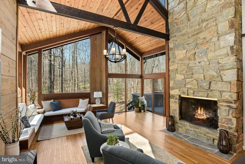 Great Room with Wood-Burning Fireplace - 11510 SUBURBAN PL, FAIRFAX STATION