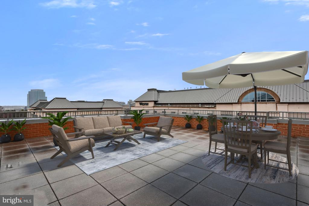 Great entertaining space on the 1000 sq ft balcony - 11760 SUNRISE VALLEY DR #1004, RESTON