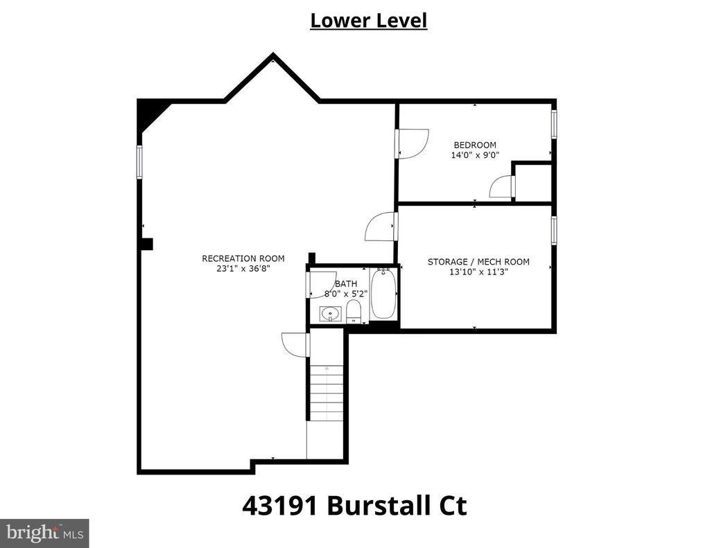 Lower Level Floorplan - 43191 BURSTALL CT, LEESBURG