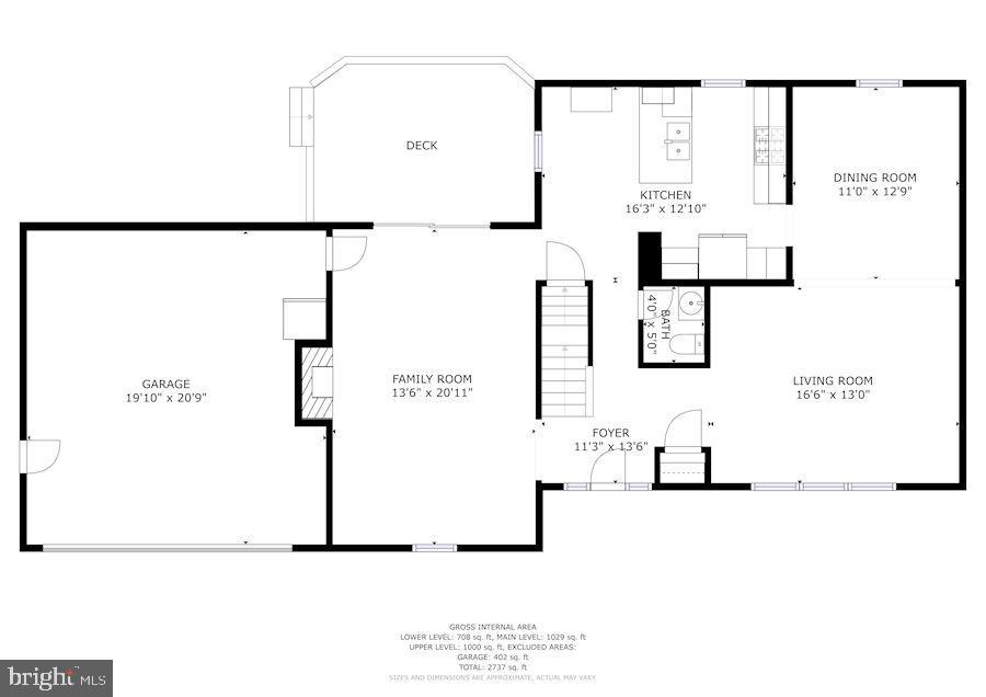 Floor Plan - Main Level - 11007 HOWLAND DR, RESTON