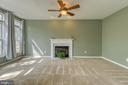 Large Family room with ceiling fan & Fireplace - 6 BEAU RIDGE DR, STAFFORD