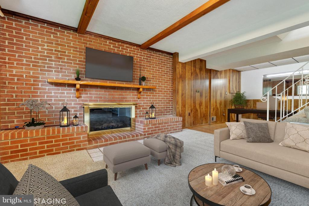 Gorgeous brick hearth and gas insert fireplace - 5041 KING RICHARD DR, ANNANDALE