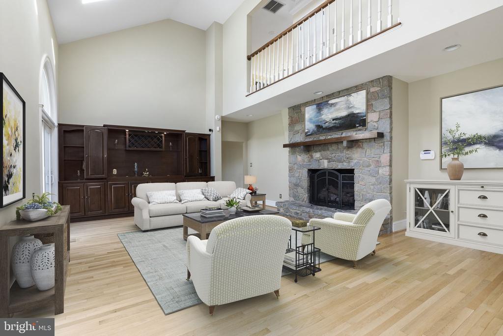Family Room with Stone Fireplace - 2405 OAKMONT CT, OAKTON