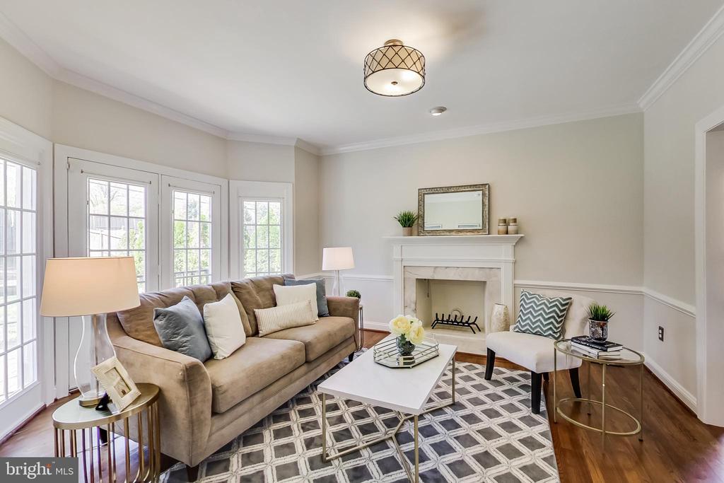 Elegant Formal Living Room w/ Wood Burning FP - 12600 HOMEWOOD WAY, FAIRFAX