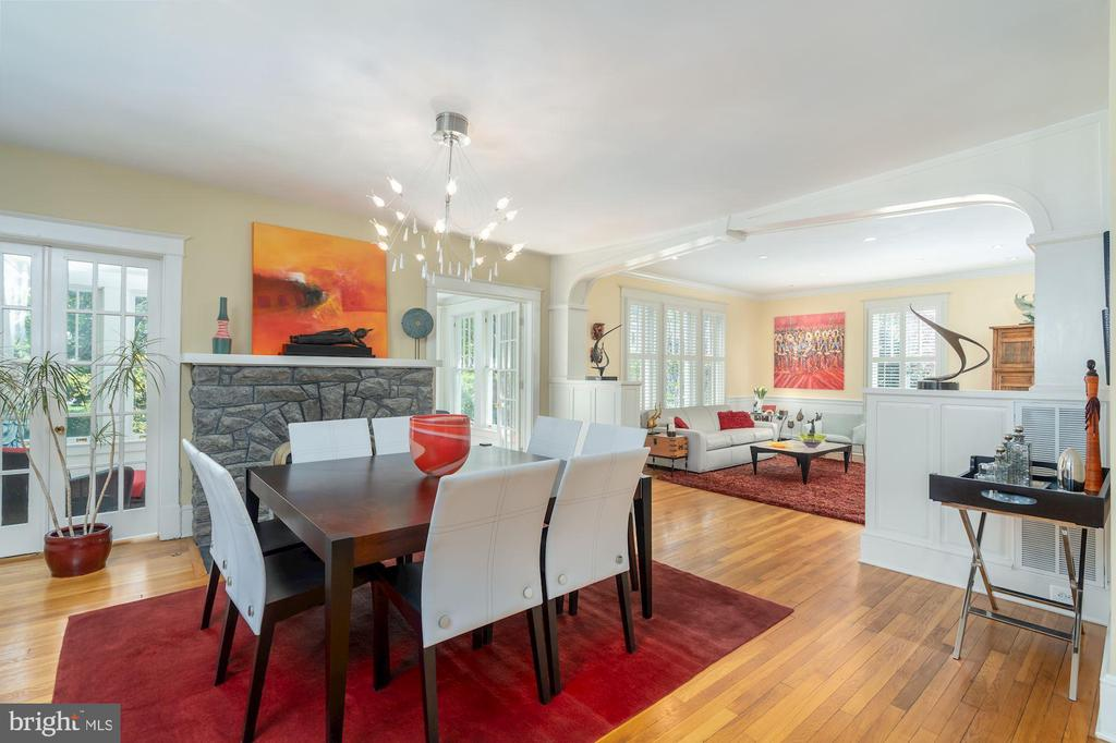 Dining Room with Stone Fireplace - 224 N JACKSON ST, ARLINGTON