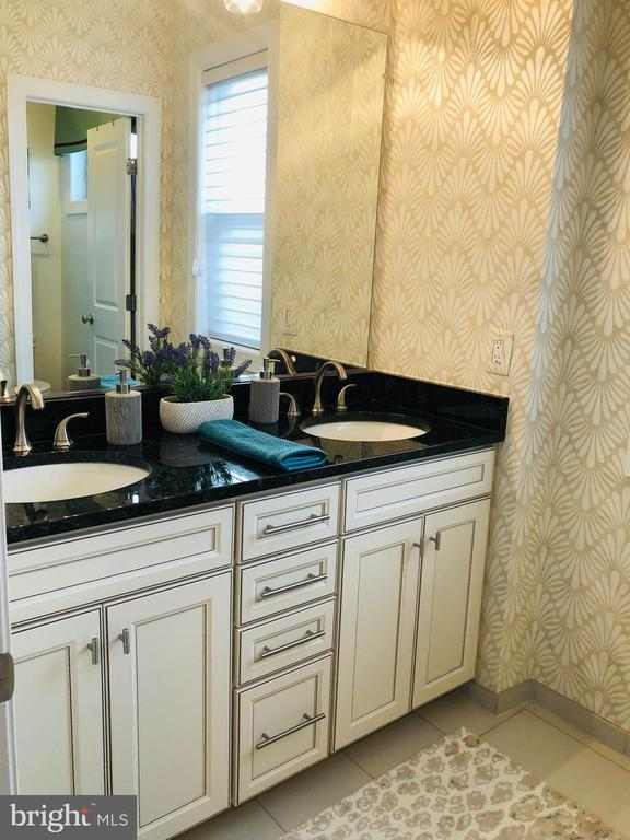 RAISED DOUBLE BOWL VANITY IN THE HALL BATH - 20800 EXCHANGE ST, ASHBURN