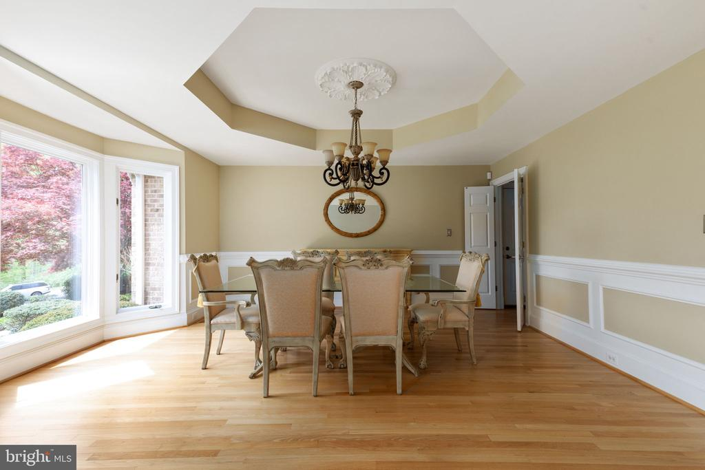 Formal Dining Room with tray ceiling & Bay Window - 2405 OAKMONT CT, OAKTON
