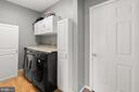 Laundry room with storage and work table - 2104 BEAR CREEK CT, FREDERICK