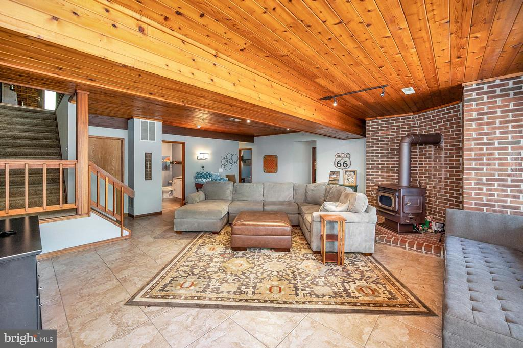 Expansive, lower level family room w/ wood stove - 300 MT PLEASANT DR, LOCUST GROVE