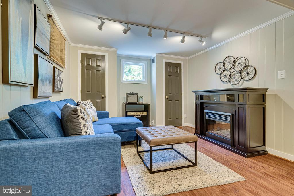 Lower level with electric fireplace - 2238 MERIDIAN ST, FALLS CHURCH