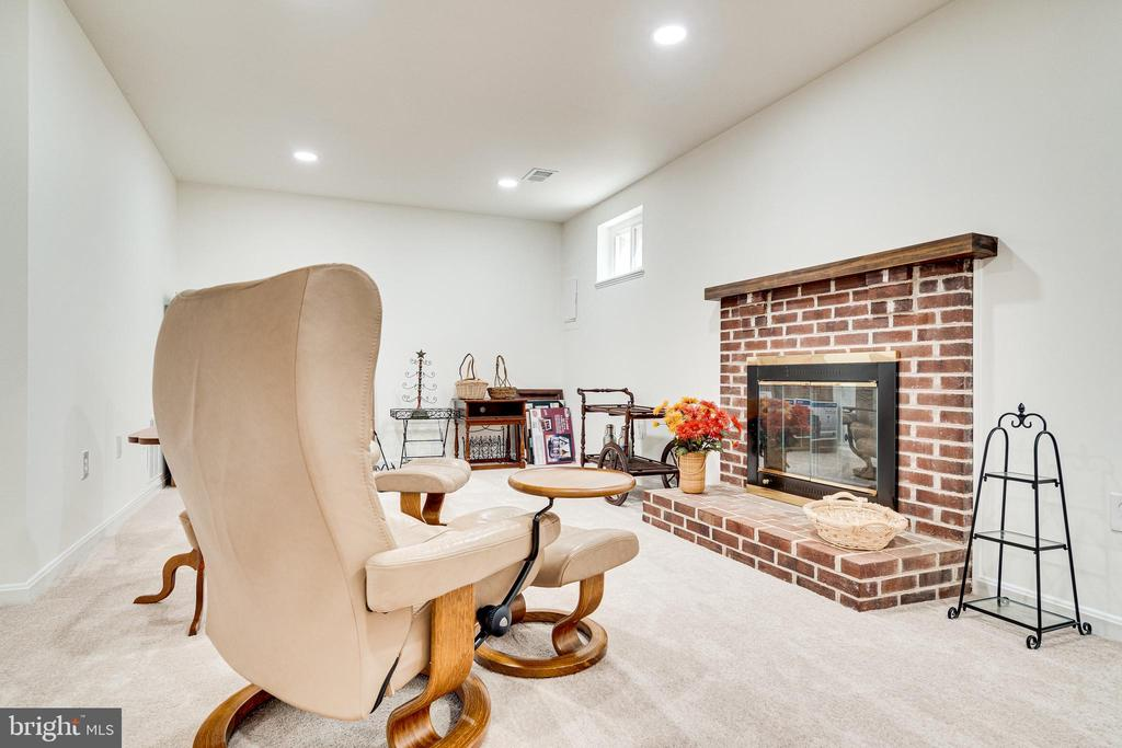 lower level with wood burning fireplace - 6850 WILLIAMSBURG POND CT, FALLS CHURCH