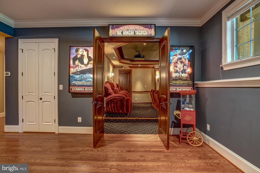 Home Theater with Marquee Movie Entrance - 8334 ALVORD ST, MCLEAN