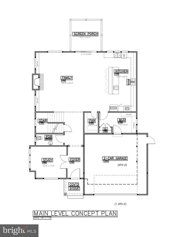 main level concept plan - 406 PLUM ST SW, VIENNA