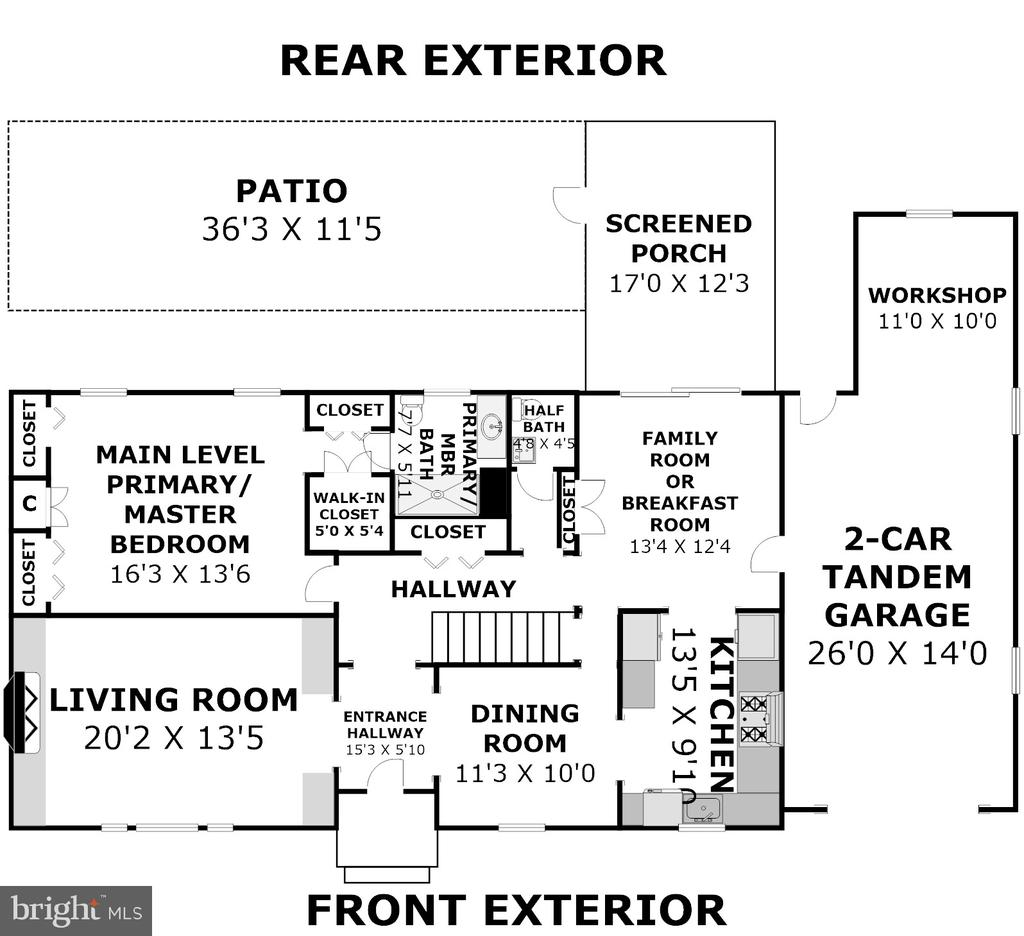 Floor Plan - Main Level (Dimensions Approximate) - 2502 CHILDS LN, ALEXANDRIA