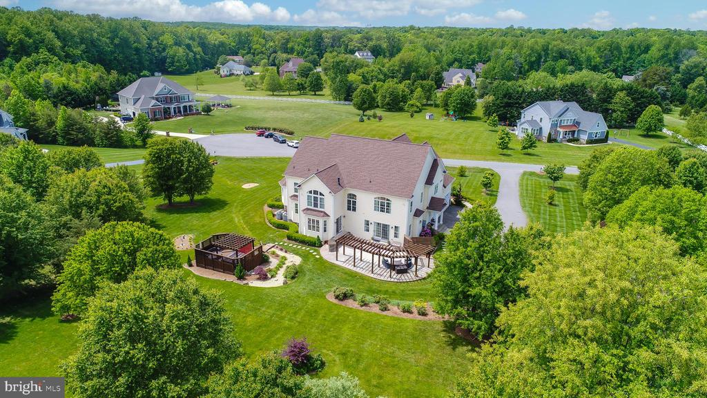 Aerial view from the rear of the home - 9903 S HARRIS FARM RD, SPOTSYLVANIA