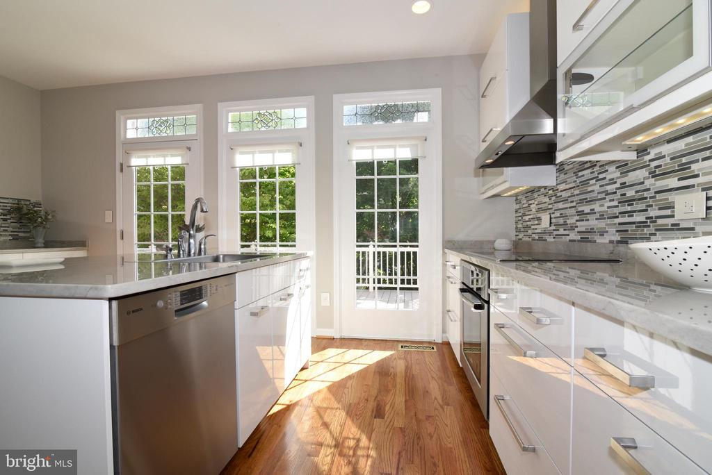 Doors to deck with designer transoms - 12143 CHANCERY STATION CIR, RESTON