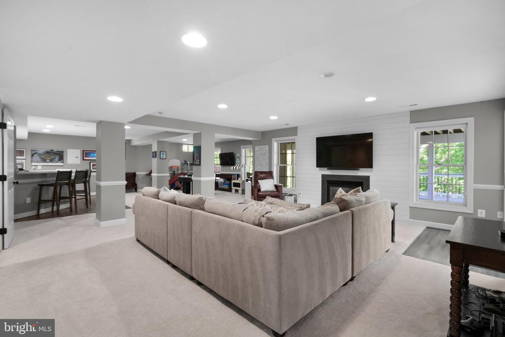 Impressive Lower Level Rec Room w/ Gas Fireplace - 47273 OX BOW CIR, STERLING