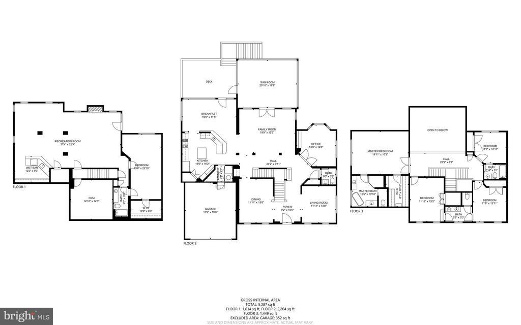 All 3 Levels - Floorplan - 47273 OX BOW CIR, STERLING