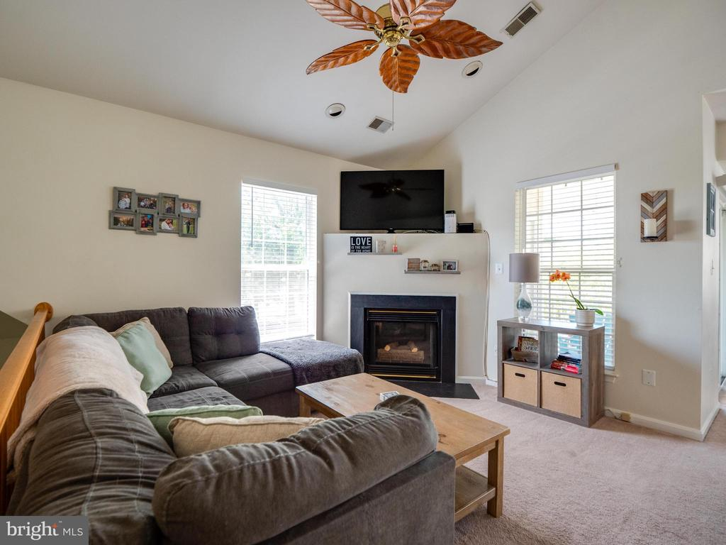 Living room with cozy gas fireplace - 25300 LAKE MIST SQ #205, CHANTILLY