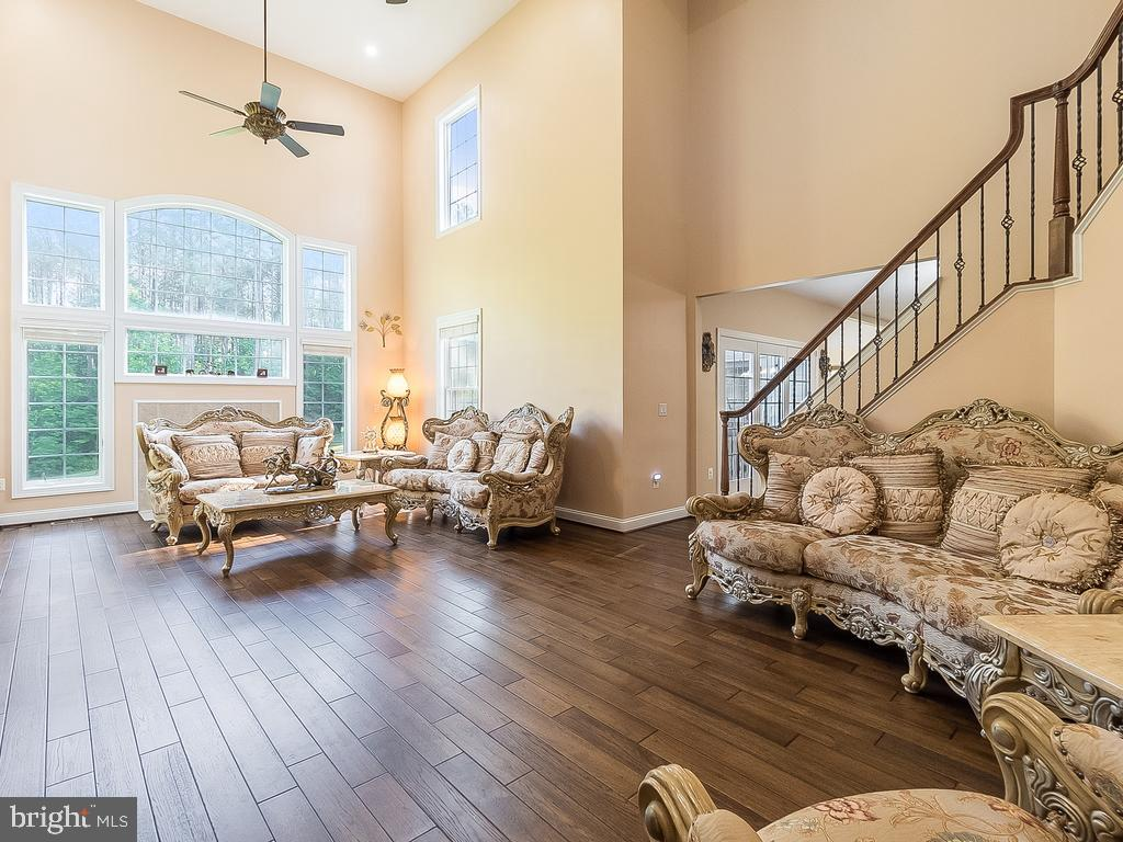Living Room with Two Story Ceiling -3RD Staircase - 12809 GLENDALE CT, FREDERICKSBURG