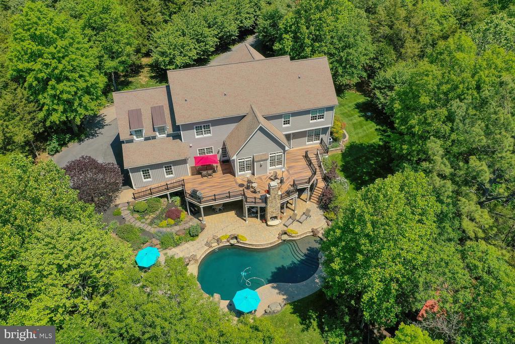 Aerial view, great outdoor entertaining - 42091 NOLEN CT, LEESBURG