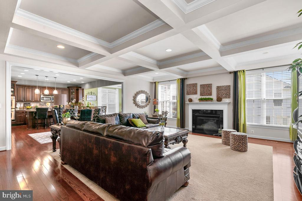 Family room with coffer ceiling - 7 COLUMBIA WAY, STAFFORD
