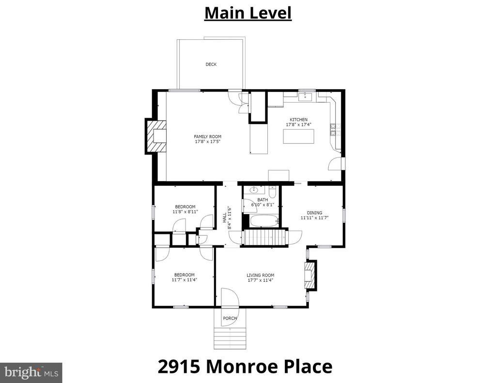 Main Level Floorplan - 2915 MONROE PL, FALLS CHURCH