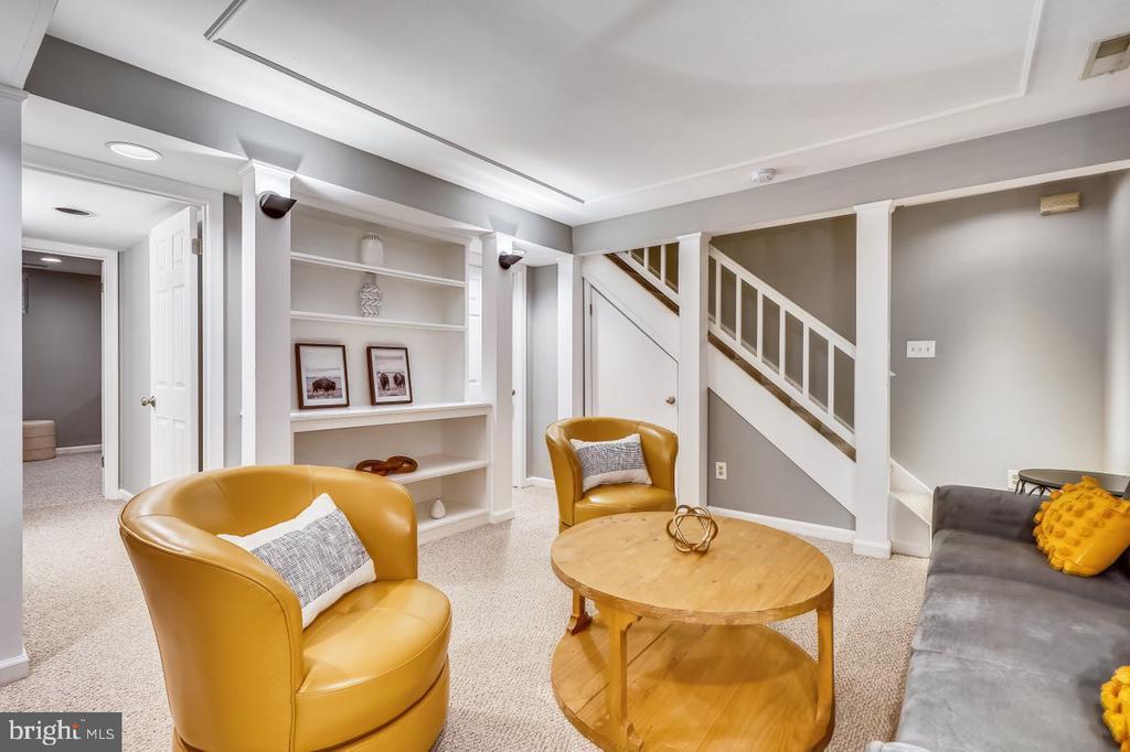 Lower level recreation room with shelves - 2564-A S ARLINGTON MILL DR S #5, ARLINGTON
