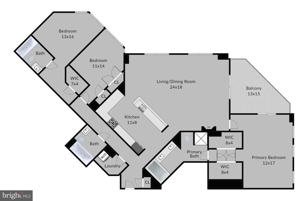 The wonderful split floor plan allows for privacy - 1830 FOUNTAIN DR #604, RESTON