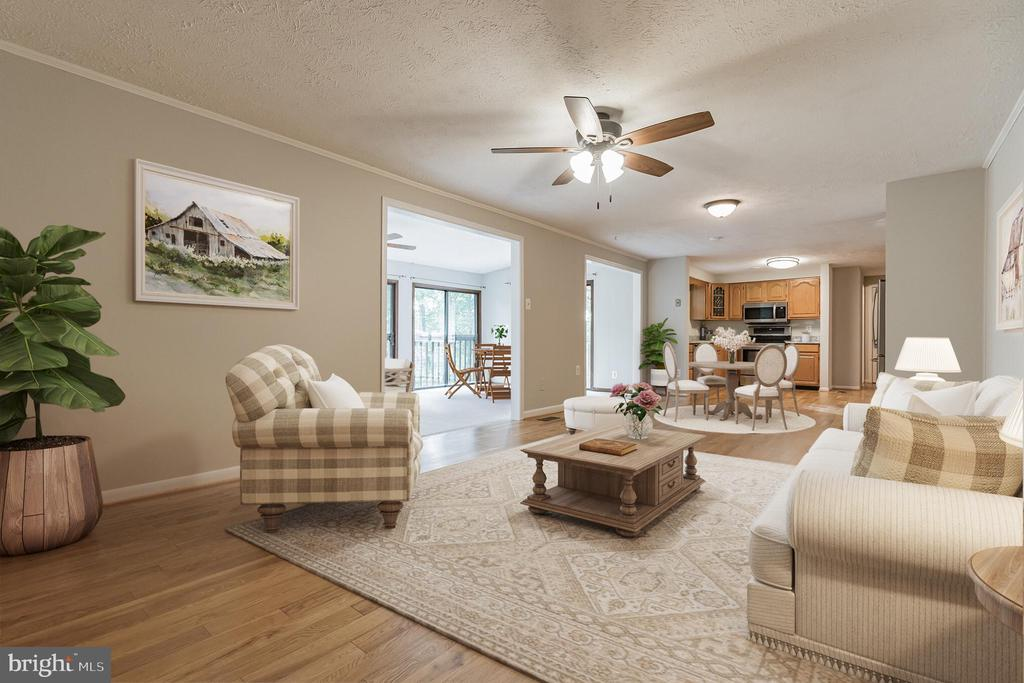 Family room open to kitchen & sunroom - 1227 AQUIA DR, STAFFORD
