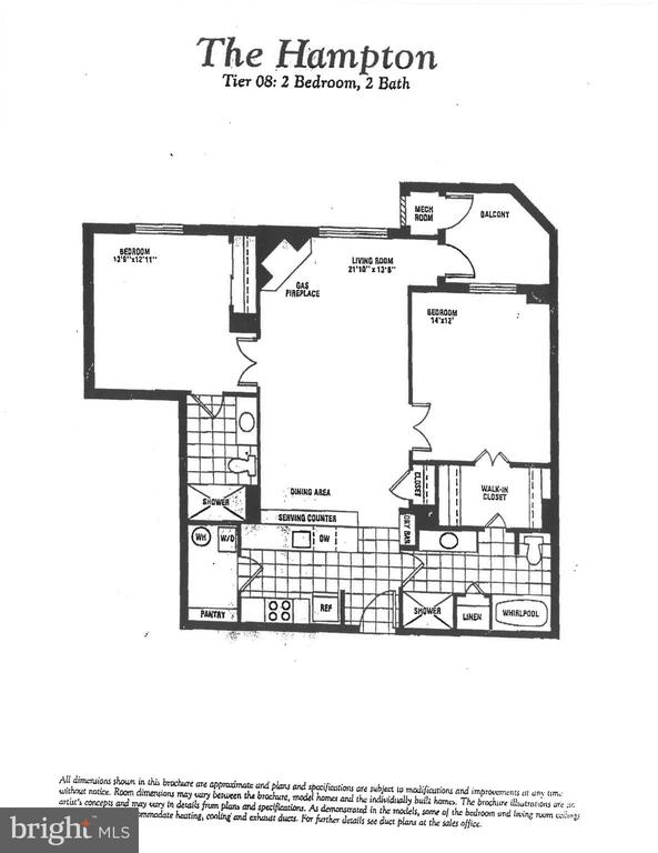 Floorplan for unit 608 - 1276 N WAYNE ST #608, ARLINGTON