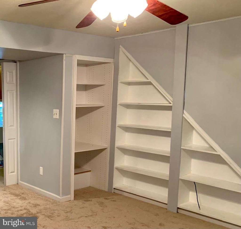 Bookshelves in the Recreation Room - 108 ALMEY CT, STERLING