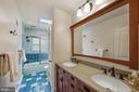 Renovated Hall Bath with Double Vanity - 5312 CARLTON ST, BETHESDA