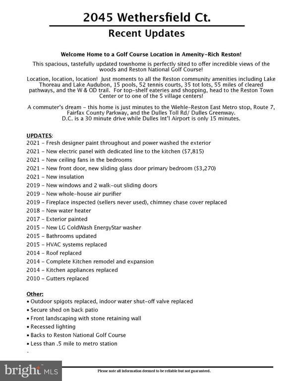 List of recent updates - 2045 WETHERSFIELD CT, RESTON
