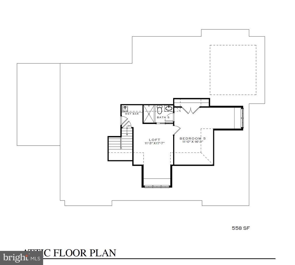 4th floor Loft with wet bar, bedroom, & full bath - 3630 N NELSON ST, ARLINGTON