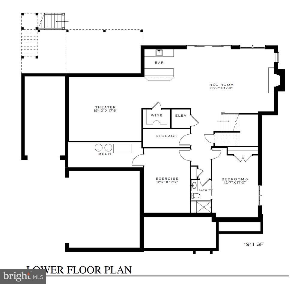 Basement w/wet bar, wine room, theater, & exercise - 3630 N NELSON ST, ARLINGTON