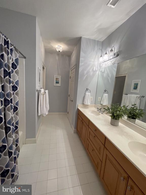 Large full hall bath, with double vanity - 14868 CIDER MILL RD, HILLSBORO