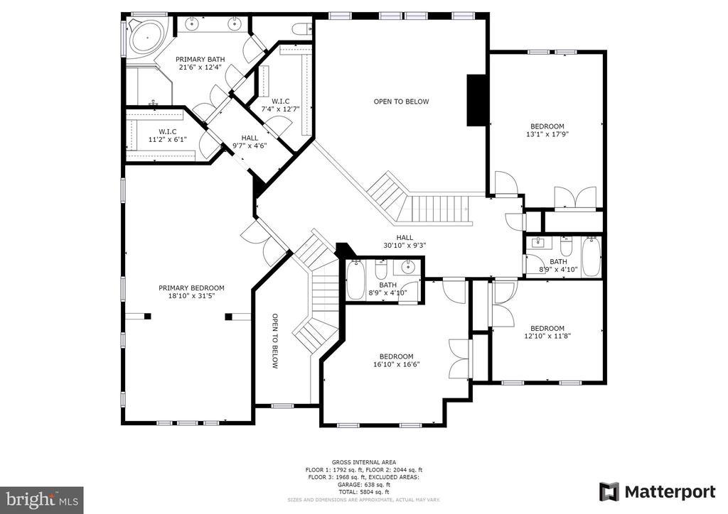 Upper Level Floor Plan - 43409 RIVERPOINT DR, LEESBURG