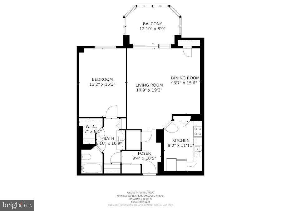One of the largest 1 BRs in the building! - 1600 N OAK ST #624, ARLINGTON