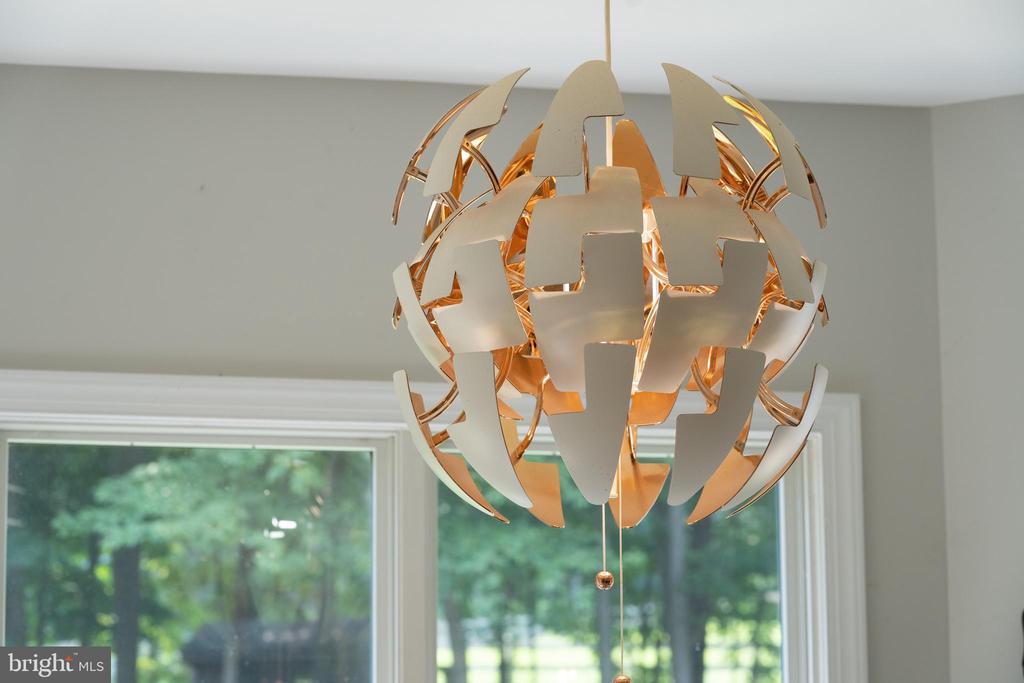 Custom copper chandelier in the breakfast nook - 4346 BASFORD RD, FREDERICK
