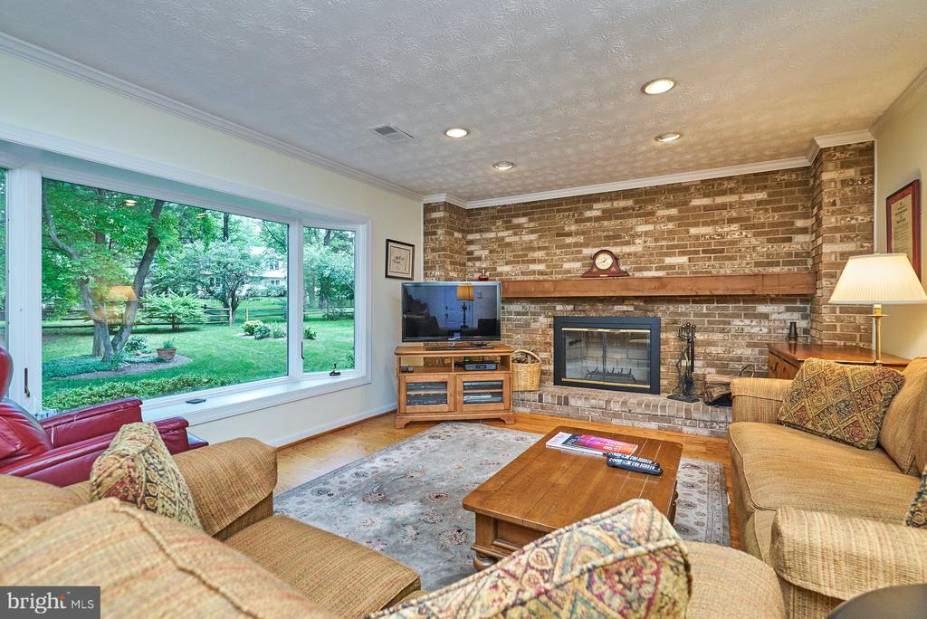 Family Room with Wood burning Fireplace - 11902 HOLLY SPRING DR, GREAT FALLS