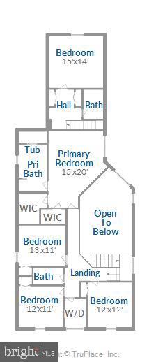 Upper level floor plan - 17451 LETHRIDGE CIR, ROUND HILL