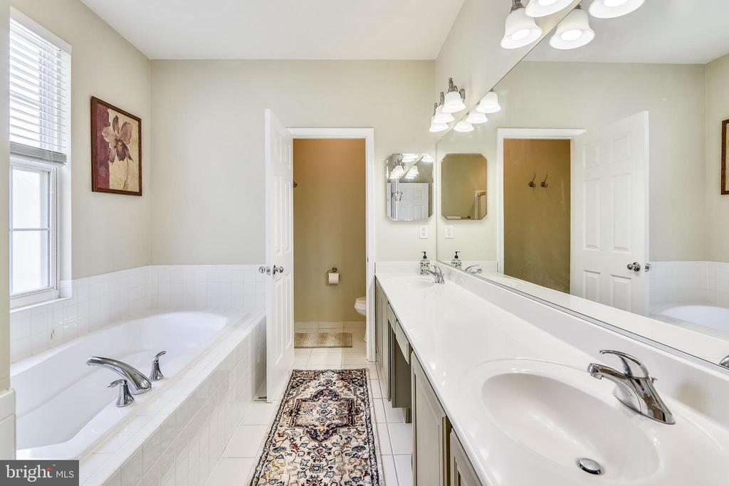 Primary bath with soaking tub and sep shower - 17451 LETHRIDGE CIR, ROUND HILL